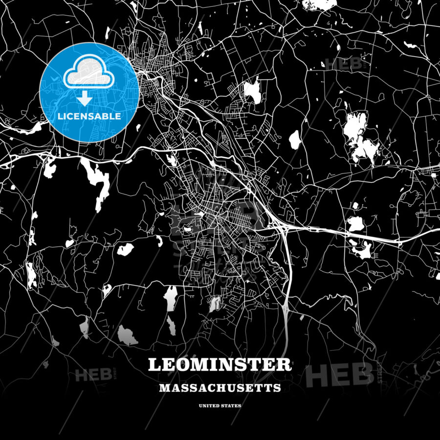 Black map poster template of Leominster, Massachusetts, USA - HEBSTREITS
