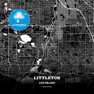 Black map poster template of Littleton, Colorado, USA - HEBSTREITS