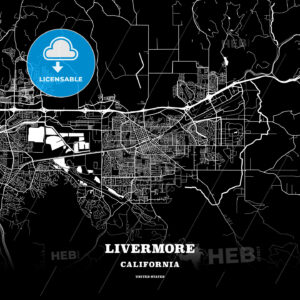 Black map poster template of Livermore, California, USA - HEBSTREITS