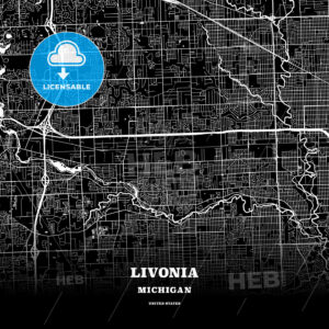 Black map poster template of Livonia, Michigan, USA - HEBSTREITS