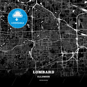 Black map poster template of Lombard, Illinois, USA - HEBSTREITS