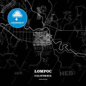 Black map poster template of Lompoc, California, USA - HEBSTREITS