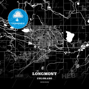Black map poster template of Longmont, Colorado, USA - HEBSTREITS