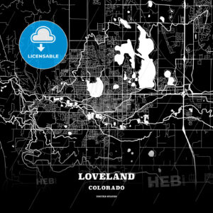 Black map poster template of Loveland, Colorado, USA - HEBSTREITS
