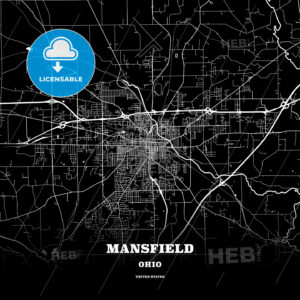 Black map poster template of Mansfield, Ohio, USA - HEBSTREITS