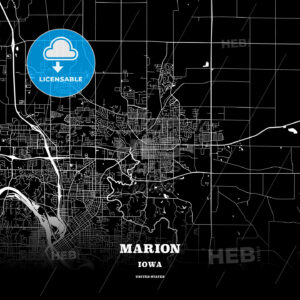 Black map poster template of Marion, Iowa, USA - HEBSTREITS