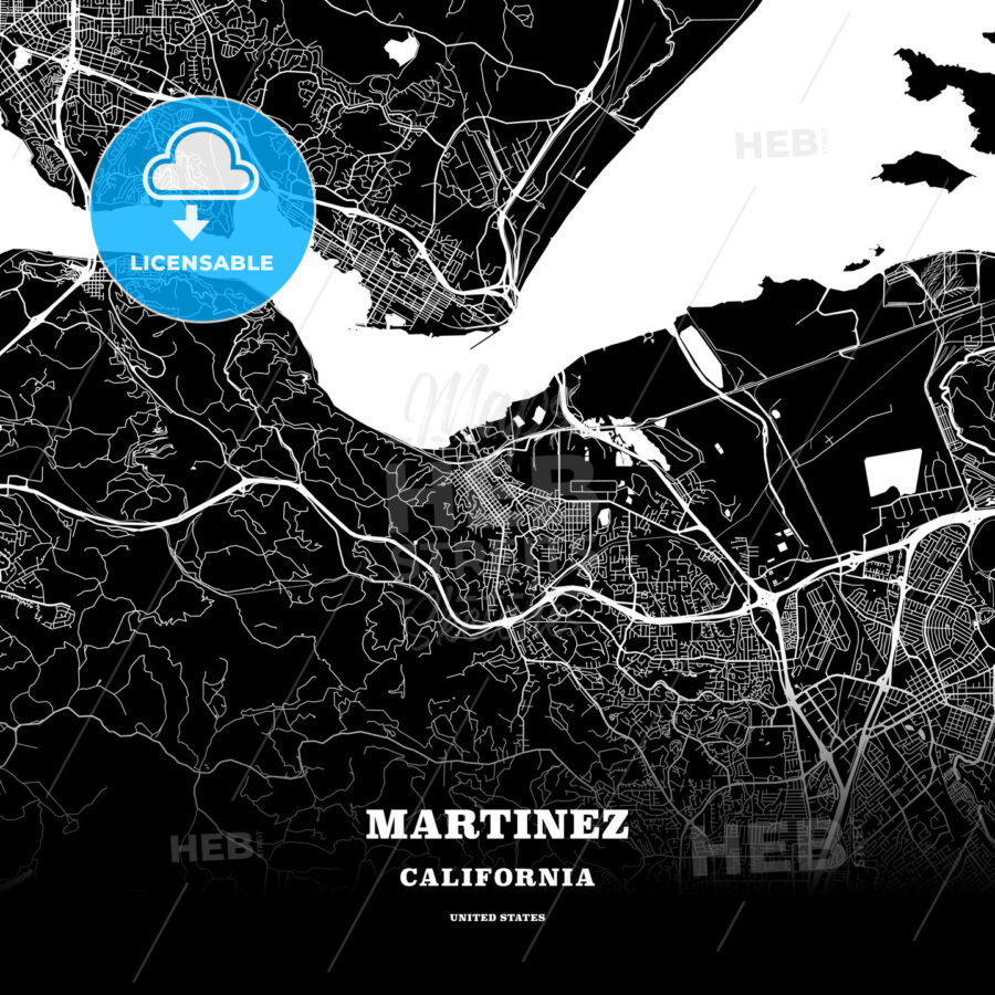 Black Map Poster Template Of Martinez California Usa Hebstreits
