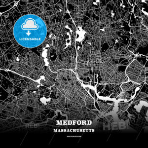 Black map poster template of Medford, Massachusetts, USA - HEBSTREITS