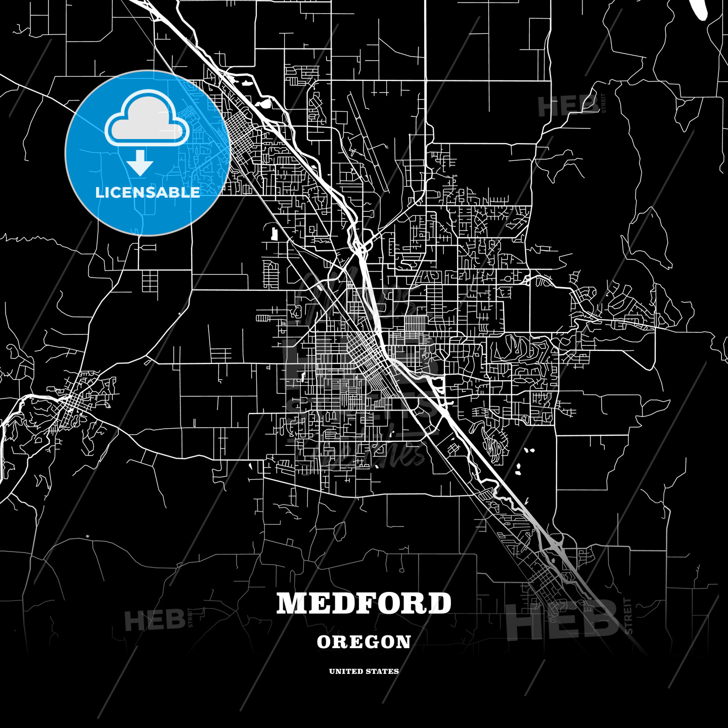 Black Map Poster Template Of Medford Oregon Usa Hebstreits Sketches