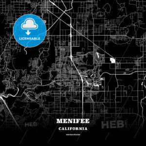 Black map poster template of Menifee, California, USA - HEBSTREITS
