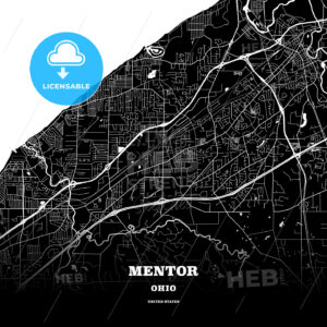 Black map poster template of Mentor, Ohio, USA - HEBSTREITS
