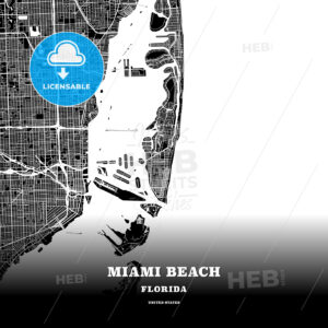 Black map poster template of Miami Beach, Florida, USA - HEBSTREITS