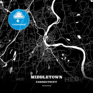 Black map poster template of Middletown, Connecticut, USA - HEBSTREITS