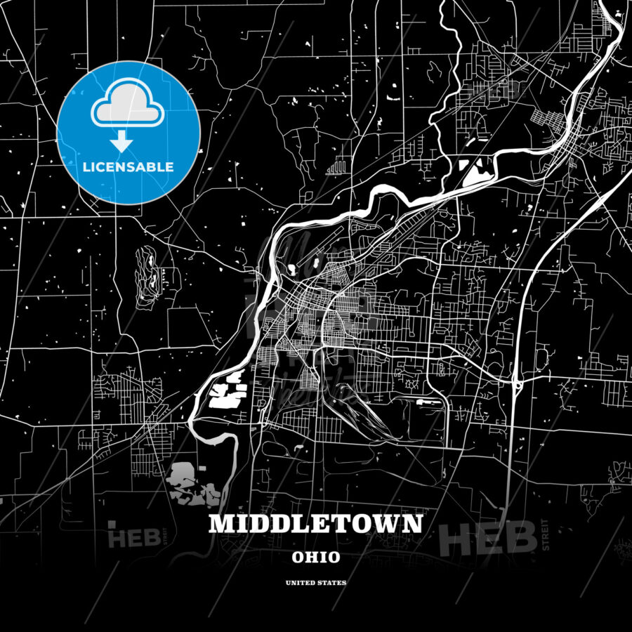 Black Map Poster Template Of Middletown Ohio Usa Hebstreits