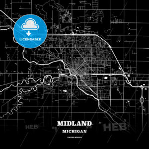 Black map poster template of Midland, Michigan, USA - HEBSTREITS