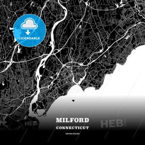 Black map poster template of Milford, Connecticut, USA - HEBSTREITS
