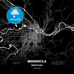 Black map poster template of Missoula, Montana, USA - HEBSTREITS