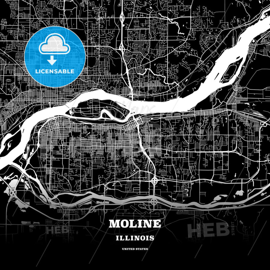 Black Map Poster Template Of Moline Illinois Usa Hebstreits