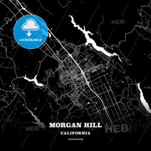 Black map poster template of Morgan Hill, California, USA - HEBSTREITS
