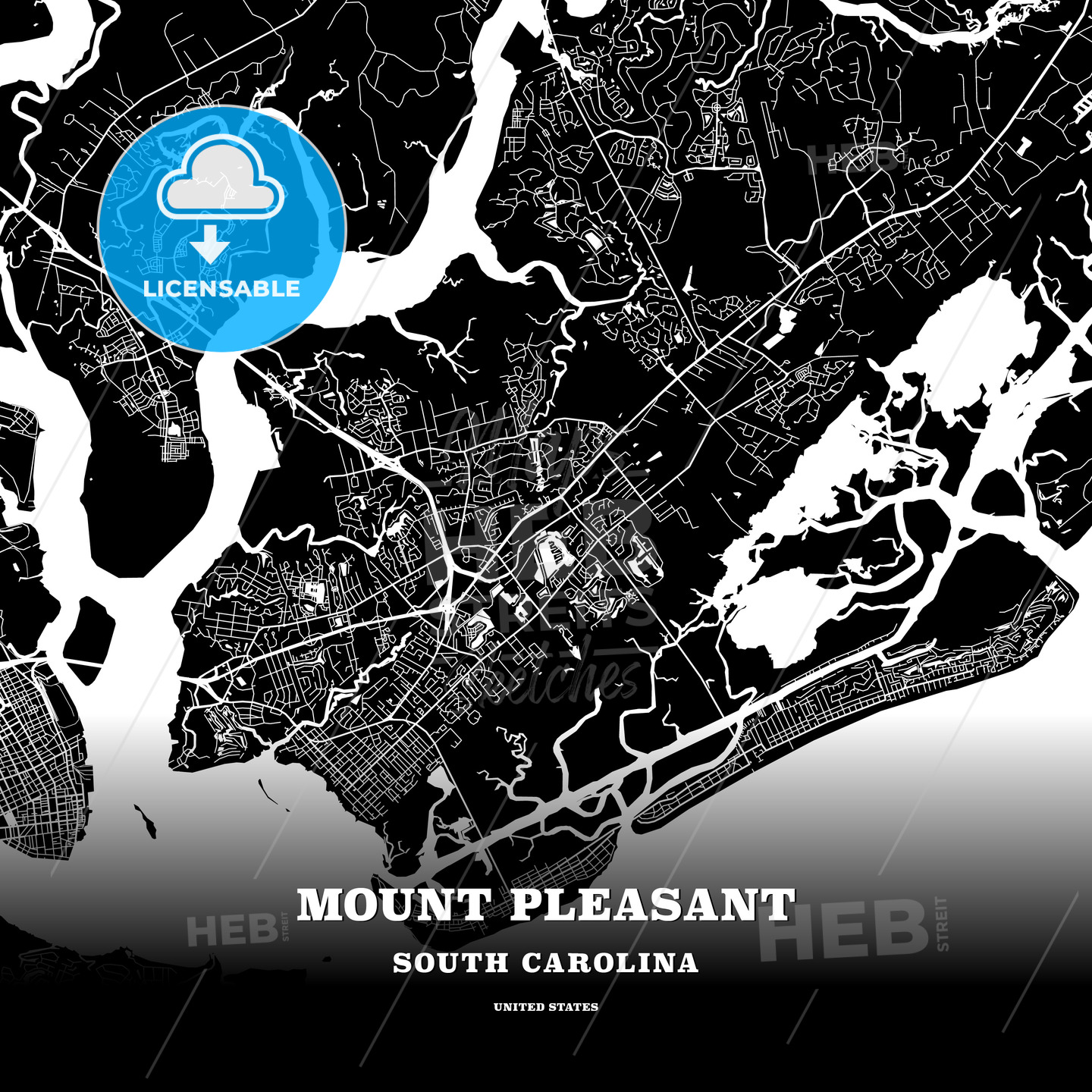 Black map poster template of Mount Pleasant, South Carolina, USA