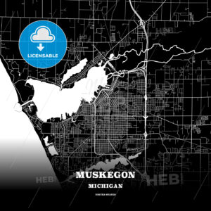 Black map poster template of Muskegon, Michigan, USA - HEBSTREITS