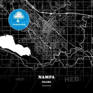 Black map poster template of Nampa, Idaho, USA - HEBSTREITS