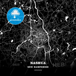 Black map poster template of Nashua, New Hampshire, USA - HEBSTREITS