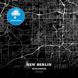 Black map poster template of New Berlin, Wisconsin, USA