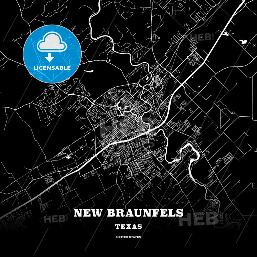 Black map poster template of New Braunfels, Texas, USA - HEBSTREITS