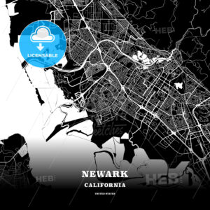 Black map poster template of Newark, California, USA - HEBSTREITS