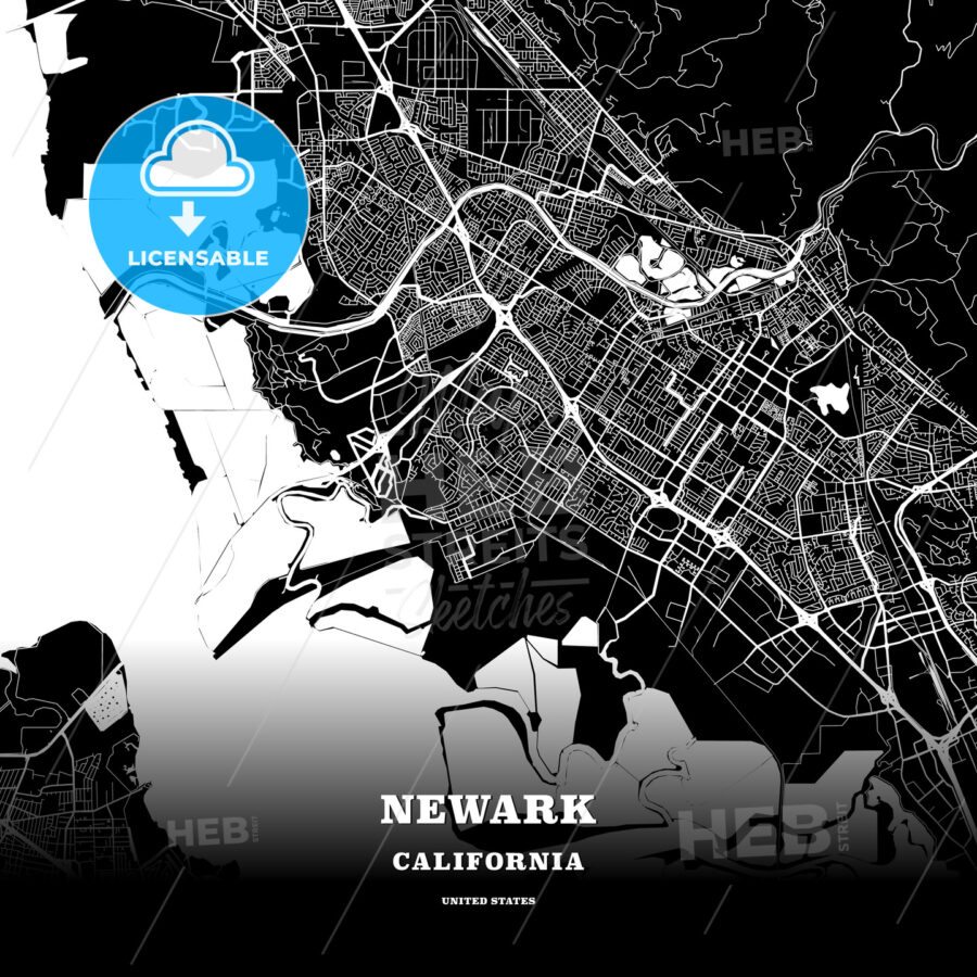 Black Map Poster Template Of Newark California Usa Hebstreits