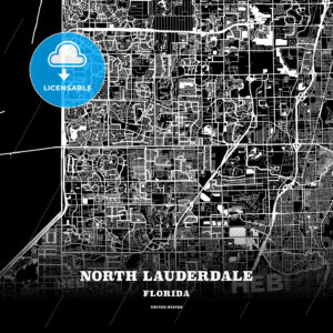 Black map poster template of North Lauderdale, Florida, USA - HEBSTREITS