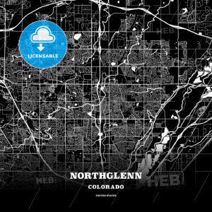 Black map poster template of Northglenn, Colorado, USA - HEBSTREITS