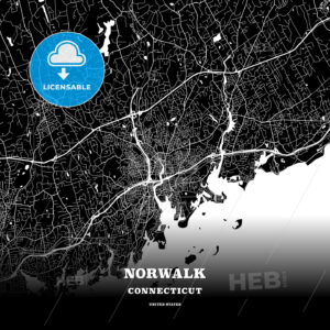 Black map poster template of Norwalk, Connecticut, USA - HEBSTREITS
