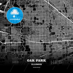 Black map poster template of Oak Park, Illinois, USA - HEBSTREITS