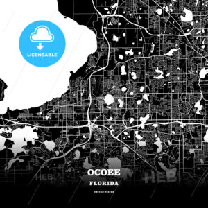 Black map poster template of Ocoee, Florida, USA - HEBSTREITS