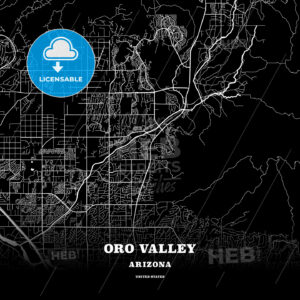 Black map poster template of Oro Valley, Arizona, USA - HEBSTREITS
