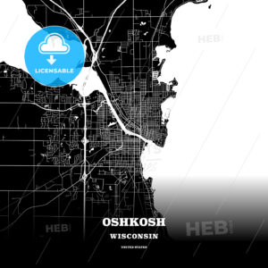 Black map poster template of Oshkosh, Wisconsin, USA - HEBSTREITS