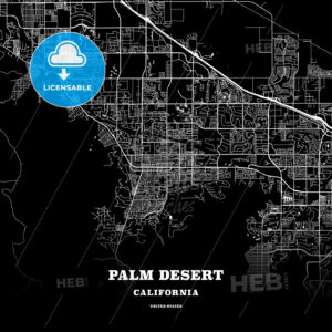 Black map poster template of Palm Desert, California, USA - HEBSTREITS