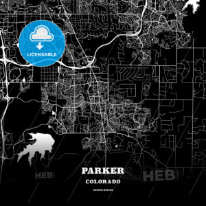 Black map poster template of Parker, Colorado, USA - HEBSTREITS