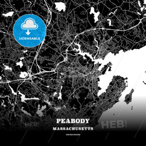 Black map poster template of Peabody, Massachusetts, USA - HEBSTREITS