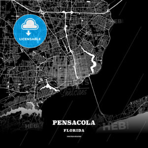 Black map poster template of Pensacola, Florida, USA - HEBSTREITS