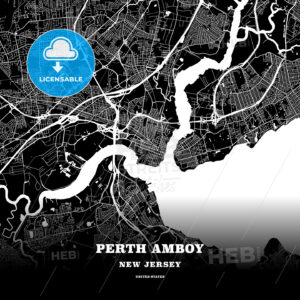 Black map poster template of Perth Amboy, New Jersey, USA - HEBSTREITS