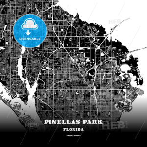 Black map poster template of Pinellas Park, Florida, USA - HEBSTREITS