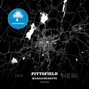 Black map poster template of Pittsfield, Massachusetts, USA - HEBSTREITS