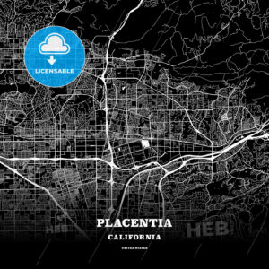 Black map poster template of Placentia, California, USA - HEBSTREITS