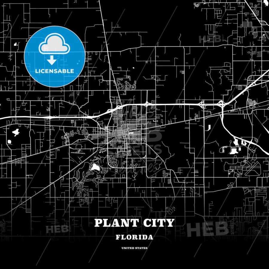 Map Of Plant City Florida.Black Map Poster Template Of Plant City Florida Usa Hebstreits