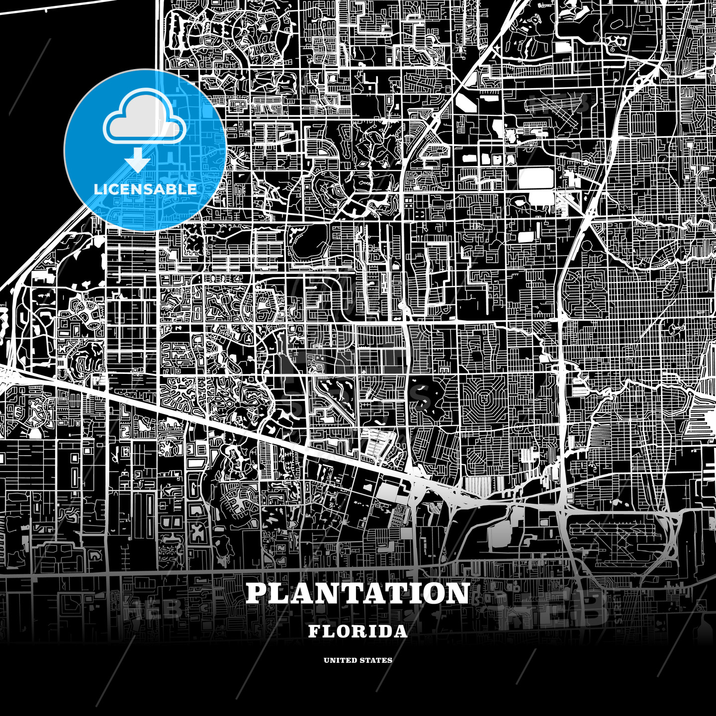 Black Map Poster Template Of Plantation Florida Usa Hebstreits