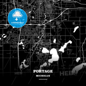 Black map poster template of Portage, Michigan, USA - HEBSTREITS