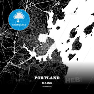 Black map poster template of Portland, Maine, USA - HEBSTREITS